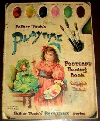 Book - Father Tuck's Playtime Postcard Painting Book, complete with Paints