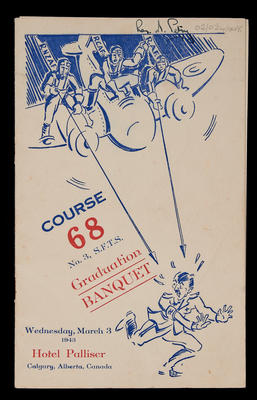 Course 68 No. 3, S.F.T.S. graduation banquet, Wednesday, March 3 1943, Hotel Palliser, Calgary, Alberta, Canada
