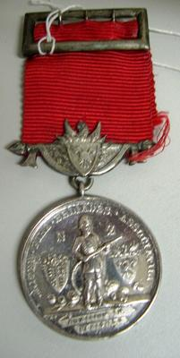 Medal and Ribbon [UFBA (United Fire Brigades Association) 5 year service medal]