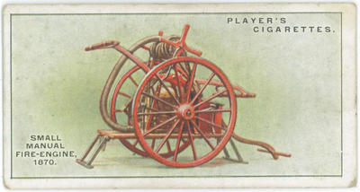 Cigarette card of a small manual fire-engine 1870