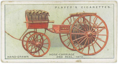 Cigarette card of a hand-drawn hose-carriage and reel, 1873