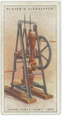 Cigarette card of a hand force-pump, 1883