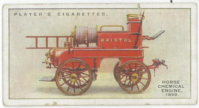 Cigarette card of a horse chemical engine, 1899