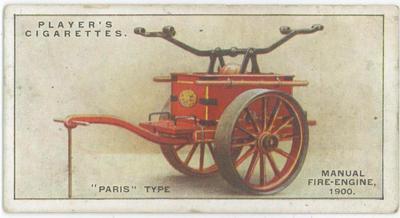 "Cigarette card of a ""Paris"" type manual fire-engine, 1900"