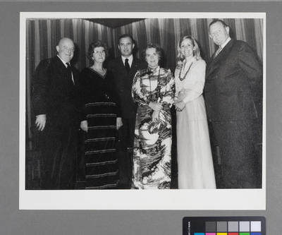 [Sir Geoffrey Roberts, Lady [Phyllis] Roberts, Knut Hammarskjöld, Lady Granville, Mrs Hammarskjöld, and Sir Keith Granville]