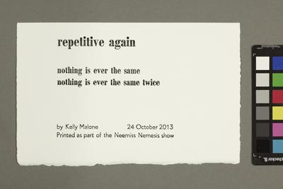 Repetitive again; Makyla Curtis; Kelly Malone; 2013