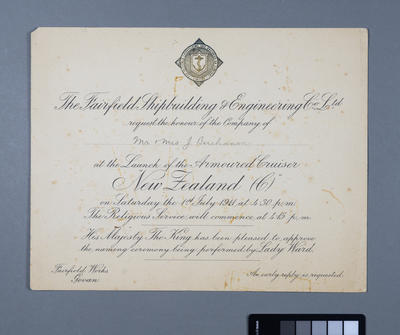 [Invitation from The Fairfield Shipbuilding & Engineering Co. Ltd. to Mr and Mrs J. Buchanan for HMS New Zealand launch]