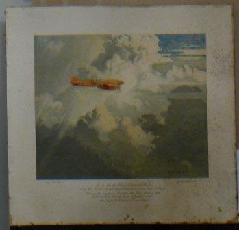 "Print showing the de Havilland Comet ""Grosvenor House"" winning the England-Australia Air Race in 1934"