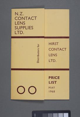 N.Z. Contact Lens Supplies Ltd. distributors of Hirst Contact Lens Ltd. : Pricelist May 1968; 1968