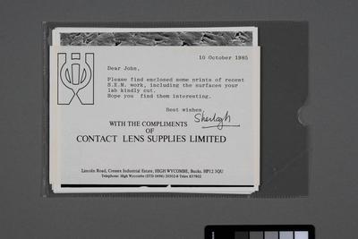 [S.E.M. [scanning electron microscopy] prints]; 10 Oct 1985