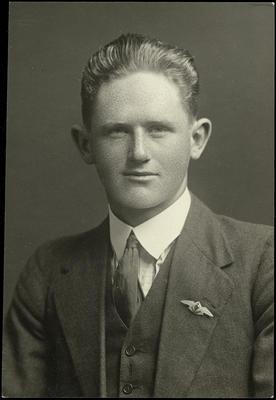 Black and white studio portrait of Basil Longmuir Orr