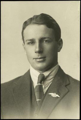 Black and white studio portrait of Lawrence Sherriff
