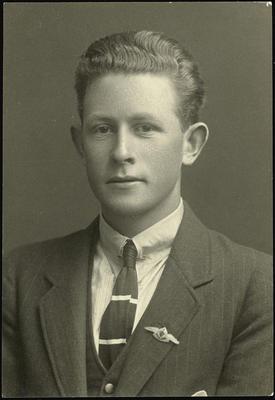 Black and white studio portrait of Dawson Trevor Goodson