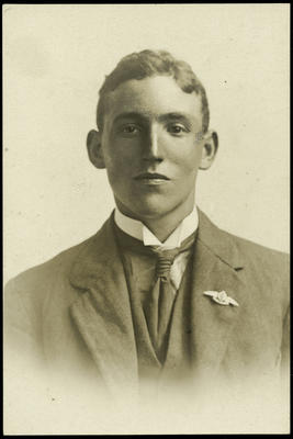 Black and white studio portrait of Lloyd Kendall Wilson