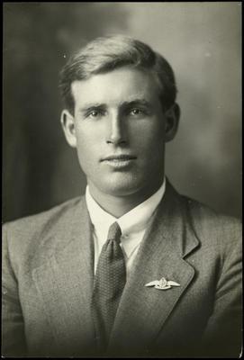 Black and white studio portrait of William Francis Warner