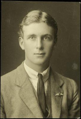 Black and white studio portrait of Trevor Read Bloomfield