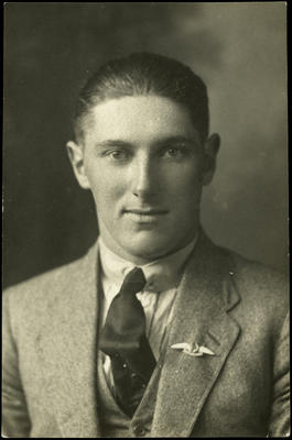 Black and white studio portrait of Richard Russell