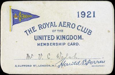 Vivian Walsh's membership card for The Royal Aero Club of the United Kingdom, 1921