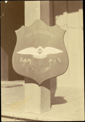 Black and white photograph of a Walsh Brothers Flying School trophy