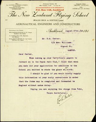 New Zealand Flying School letter
