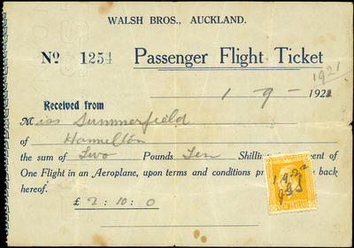 Passenger flight ticket for Miss Summerfield of Hamilton to fly with the Walsh brothers, paid 1 September 1921