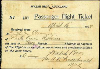 Passenger flight ticket for unidentified person of Rotorua to fly with the Walsh brothers, paid 16 April 1922