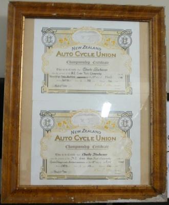 New Zealand Auto Cycle Union certificates of Charlie Buchanan