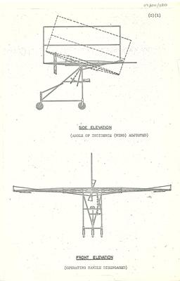 Copy of diagrams of Pearse number 1 plane side and front elevations with angles of incidence indicated