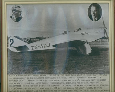 [The Miles Hawk which Mac McGregor and Johnny Walker flew in the Melbourne Centenary Race]