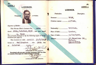 [Private pilot's certificate and licence (flying machines) for Alfred Rose]