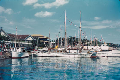 [View of yachts in Papeete harbour]