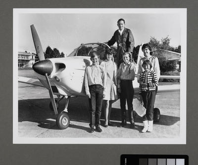 Photograph of Cliff Tait, his wife Joyce and their four children the day before Cliff began his Airtourer trip; Unknown; Cliff Tait; 1969