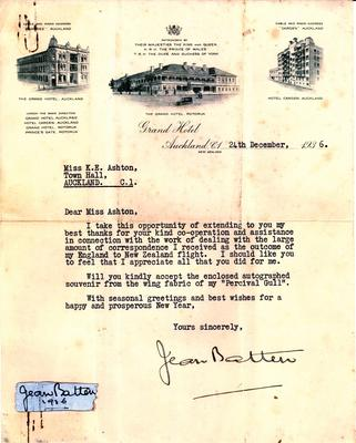 Letter from Jean Batten to Miss Kate Ashton thanking her for her secretarial services to Jean Batten in 1936