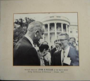 Museum director John H. Hogan at the White House during Smithsonian bi-centennial, October 1965