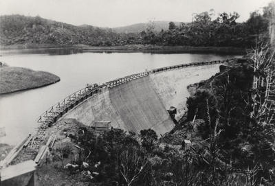 Waitakere dam at commencement of raising contract 1927