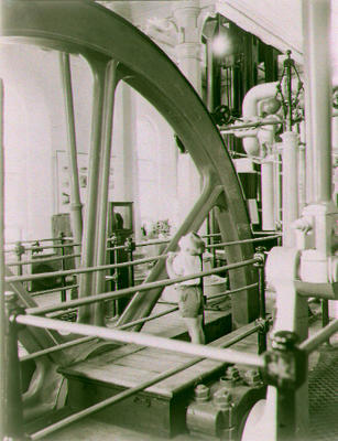 [Negative of beam engine in the pumphouse at the Museum of Transport and Technology (MOTAT)]
