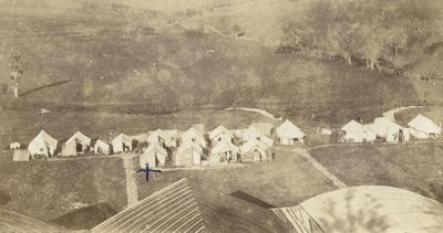 Photograph of the New Zealand Flying School camp from the air