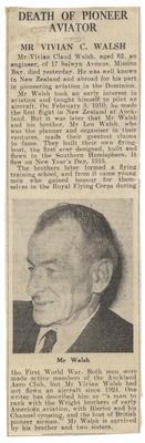 Death of pioneer aviator : Mr. Vivian C. Walsh