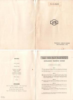 Tramway Jubilee Dinner menu, 24th November, 1952