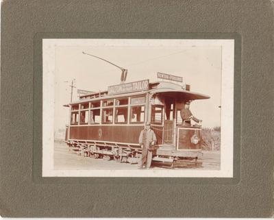 Auckland tram no. 1 with Motorman Gilbert Elliot at the controls with Conductor Ernie Johnstone