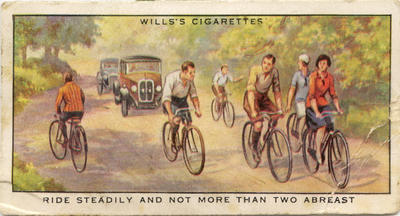 Cyclists ride steadily and not more than two abreast