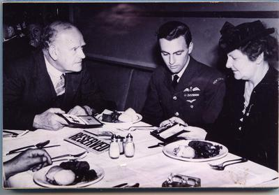 Squadron Leader Barron lunching with the New Zealand High Commissioner
