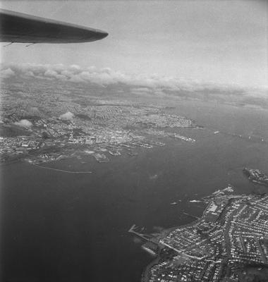 Aerial view of Auckland harbour