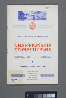 United Fire Brigades' Association championship competitions, Waikaraka Park, Onehunga, February 28, March 1 and 2, 1963