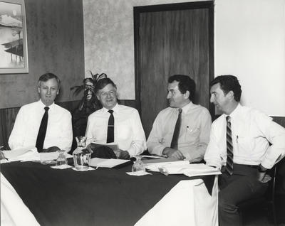 [Meeting of Air New Zealand Engineering Christchurch seated around table.]