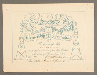 [Certificate to ham operator Les Birch of station ZL 2Hi New Plymouth]