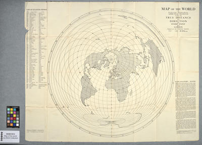 World map giving distances and directions to London for aerial alignment