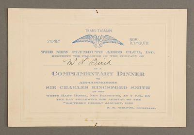 [Dinner for Air Commodore Sir Charles Kingsford Smith]