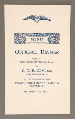 """[Menu for dinner commemorating Tasman flight on """"Faith in Australia""""]"""