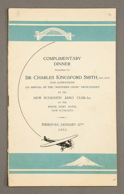 [Menu for a dinner held for Sir Charles Kingsford Smith]